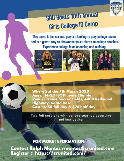 Santa Rosa United Grils College ID Soccer Camp